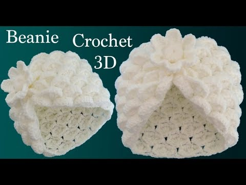 Gorro a Crochet punto marshmallow y flor 3D en punto tunecino tejido tallermanualperu