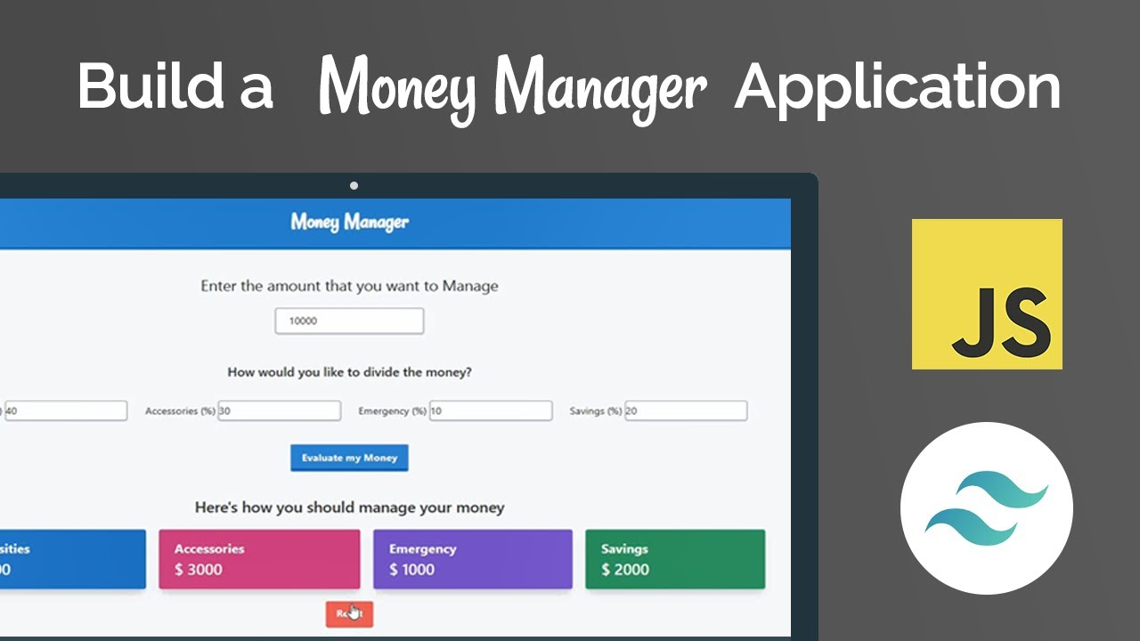 Money Manager App with Javascript and Tailwind CSS