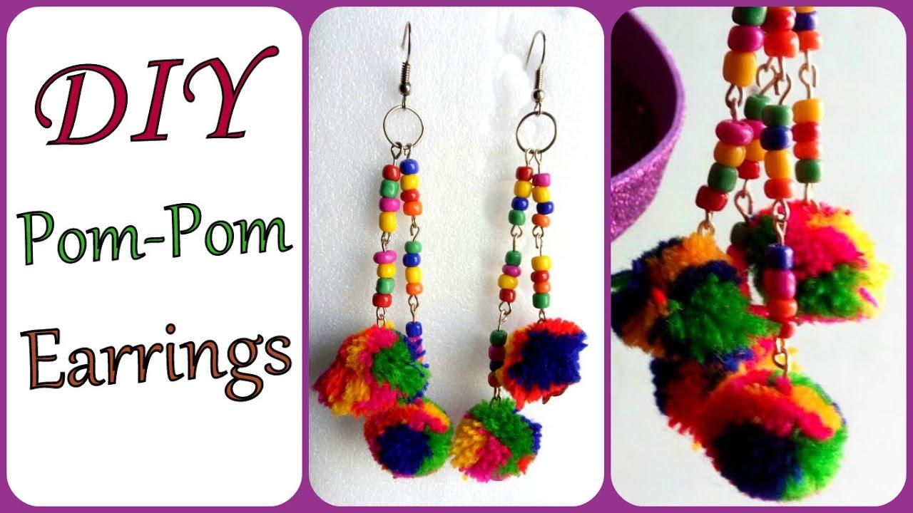 DIY Pom-Pom Earrings I How to make pom-pom earrings at home I ...