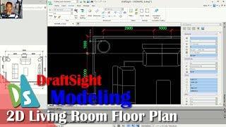 DraftSight 2D Living Room Floor Plan Tutorial