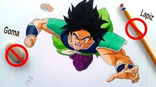 Reto NO LAPIZ Y NO BORRADOR/GOMA. Dibujando a BROLY Dragon Ball Super. NO PENCIL/NO ERASER CHALLENGE