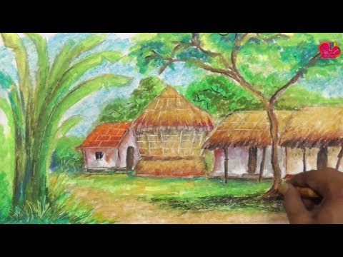 Wonderful Indian Village Scene | Landscape Drawing With Soft Pastels | Drawing Art Beginners