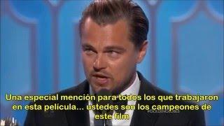(SUB) Leonardo DiCaprio gana mejor actor Golden Globes agradecimientos subtítulado español