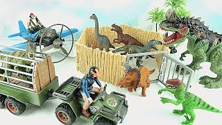 Dinosaur Zoo Rescue Adventure! Dinosaur Hunter Appeared. Truck Airplane Dino Toy For Kids~