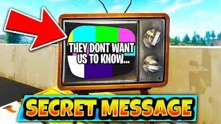 """*NEW* """"SECRET MESSAGE"""" in FORTNITE! Television Message REVEALED! (Fortnite Battle Royale)"""