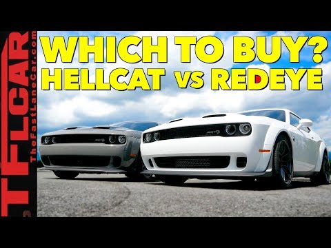 Compared! New 717 HP Dodge Challenger Hellcat vs 797 HP Redeye Slug Fest Review