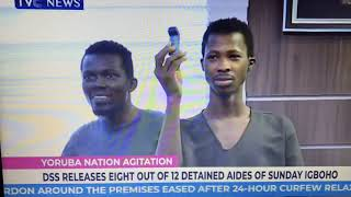 SSS RELEASE EIGHT OUT OF THE 12 DETAINED OF CHIEF SUNDAY IGBOHO YORUBA SELF DETERMINATION