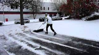 Clearing car parking space in 33 seconds -  Finnish hand-held snow plough Thumbnail