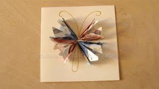 Repeat youtube video Geldgeschenke basteln: Geldschein falten Schmetterling. Geschenk: Hochzeit, Weihnachten