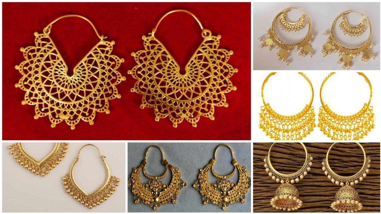 Download #gold hoop earing design with weight 2021.Gold bali design. Gold Baliyan. 2021