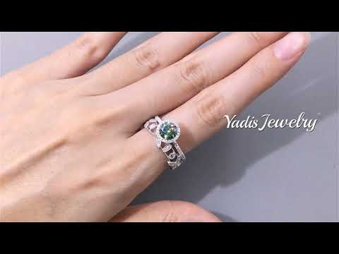 tyrs116-green-moissanite-dimaond-wedding-band-set-engagement-ring