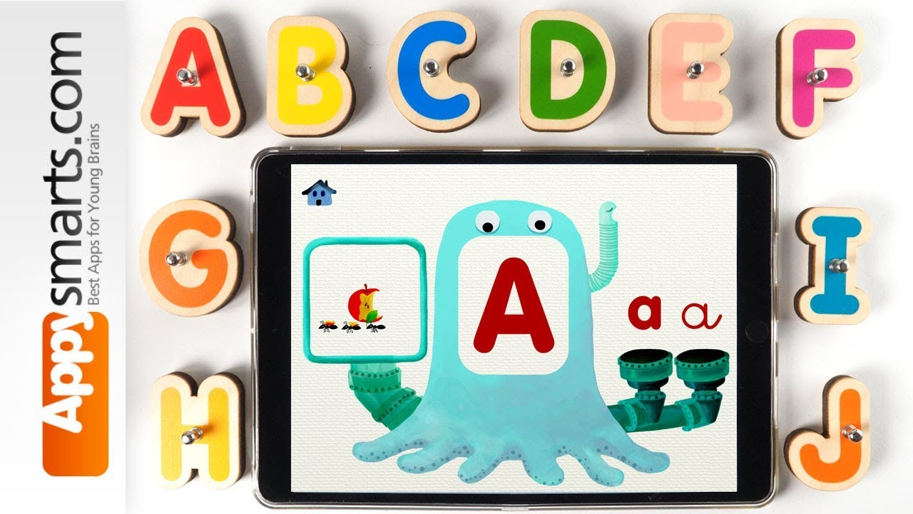 Marbotic Smart Words Wooden Letters Kit  with Alpha Monster app – toy and app demo for kids