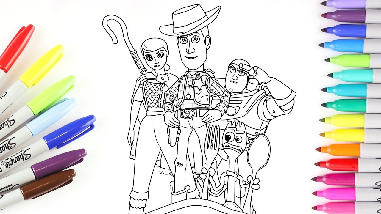 Toy Story 4 Woody Buzz Lightyear Bo Peep And Forky Coloring Pages For Kids Rainbow Tv Youtube