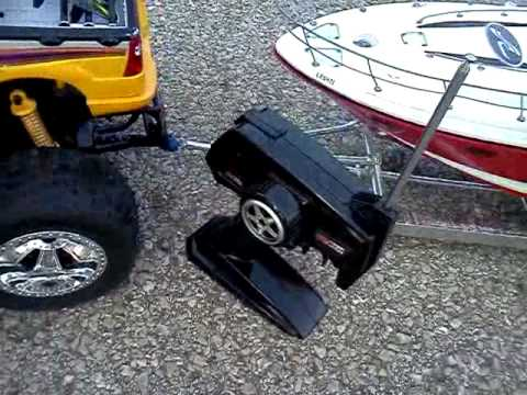 Rc car and boat trailer with boat - YouTube
