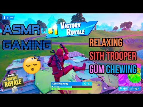 ASMR Gaming 😴 Fortnite Sith Trooper Relaxing Gum Chewing 🎮🎧Controller Sounds + Whispering💤
