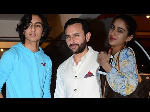 Saif Ali Khan poses with son Ibrahim Khan while Daughter Sara Khan dodges media | SpotboyE