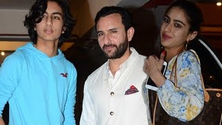 Saif Ali Khan poses with son Ibrahim Khan while Daughter Sara Khan dodges media   SpotboyE
