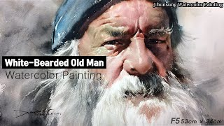 Watercolor portrait painting │ 인물수채화 초상화 수채화 │white-bearded old man