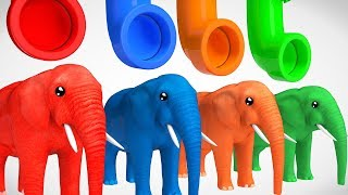 Learn Colors With Elephant Animals W Learn Shapes Surprise Egg Video For Kids
