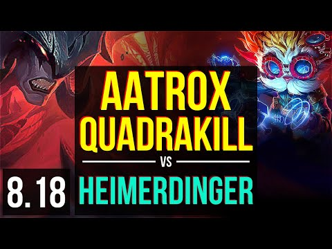 AATROX vs HEIMERDINGER (TOP) | Quadrakill, KDA 15/2/4, Legendary | Korea Master | v8.18