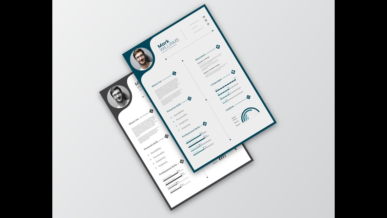 creative cv  resume design in adobe illustrator cc