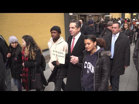 New York Gov. Andrew Cuomo participating in the National Walkout.