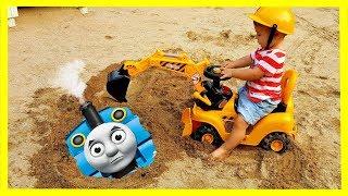 Baby on Kids bulldozer Rescues Toy Thomas Train Tank Engine