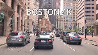 Boston 4k - Skyscraper District Drive - Usa