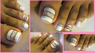 Pedicure facil de hacer en color blanco/Pedicure white design