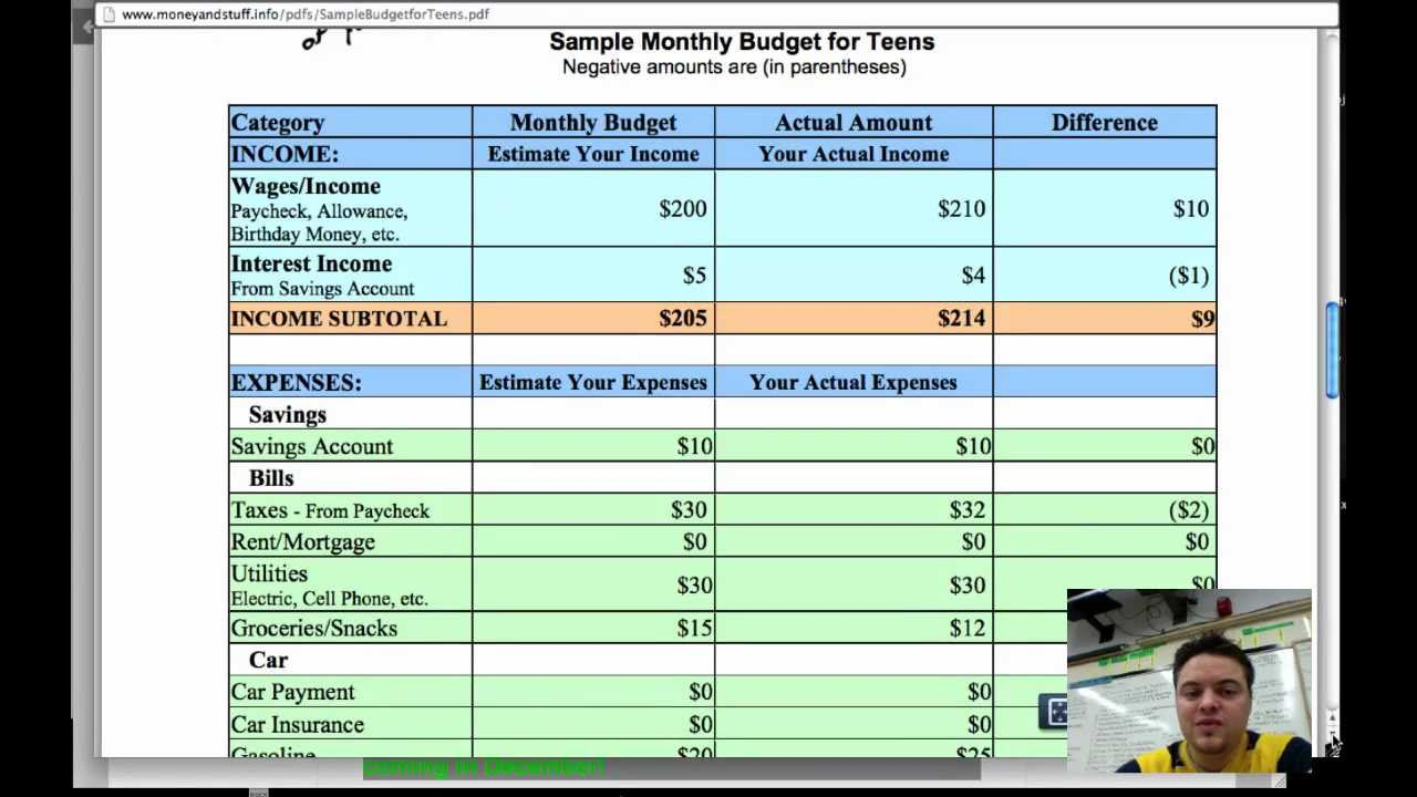 Module 7 Sample Teen Budget Sheet Example Activity Video