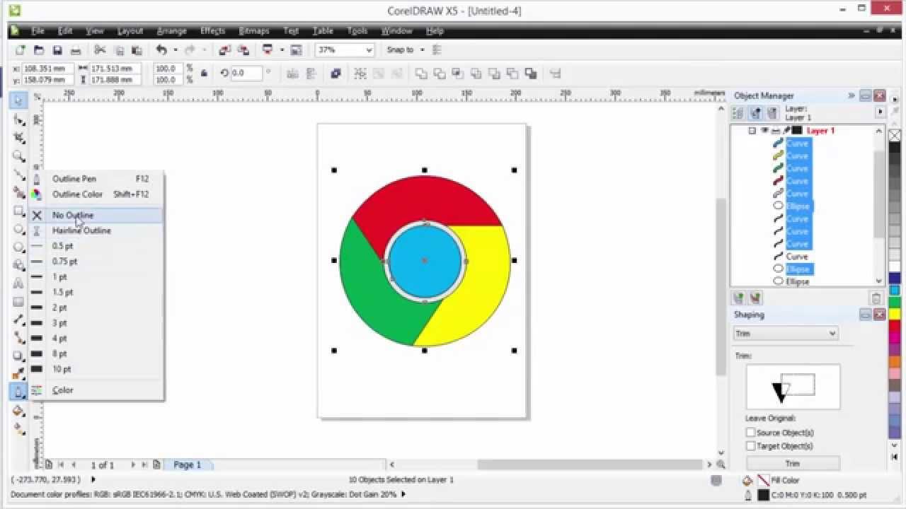 How to make Google Chrome Logo in Coreldraw