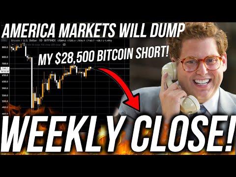 BITCOIN WEEKLY CLOSE! DUMP?! AMERICA STOCK CRASH TOMORROW! Live Trading BTC! ETH & DOWJ Analysis TA