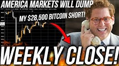 BITCOIN WEEKLY CLOSE! DUMP?! AMERICA STOCK CRASH TOMORROW! Live Trading BTC! ETH & DOWJ Analysis TA