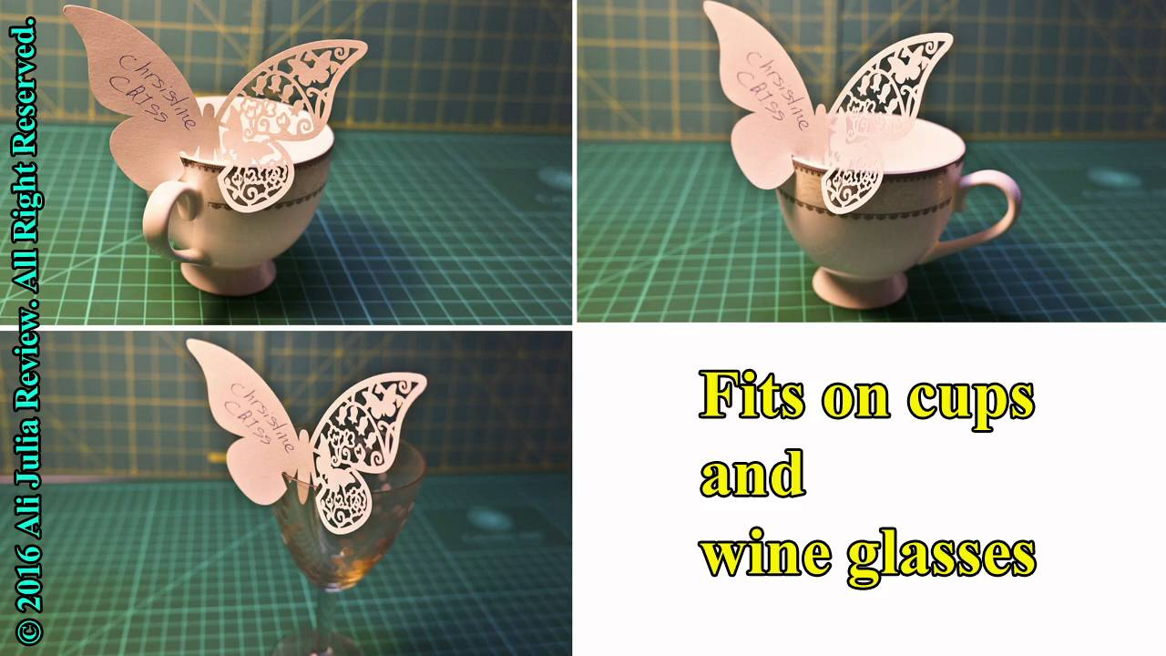 50pcs 3D Butterfly Place Cards Party Wedding Table Name Place Wine Glass  Cards Glass Pendants Cup Po
