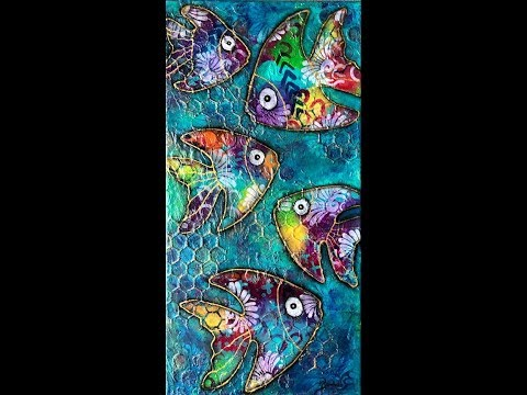 Mixed Media  Art Journal Tutorial – One Fish Two Fish- Modeling Paste, Negative Painting