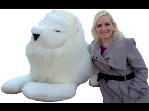 Huge Stuffed White Lion Is 4 Feet Long Big Plush King Of Beasts Made