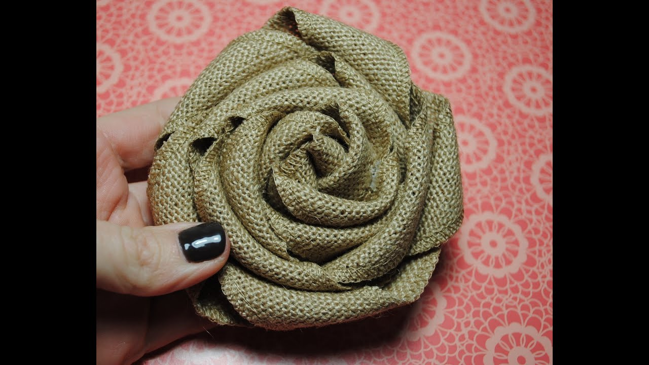 Stampin Up Burlap Ribbon Burlap Rolled Flower Tutorial