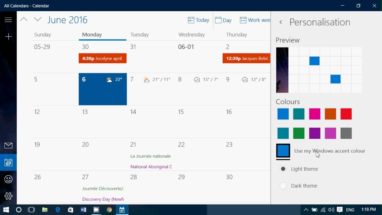 Calendario Windows 10 Su Desktop.Tips And Trips How To Personalize The Windows 10 Calendar App Colors And Theme