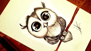 Drawing a Kawaii Baby Owl
