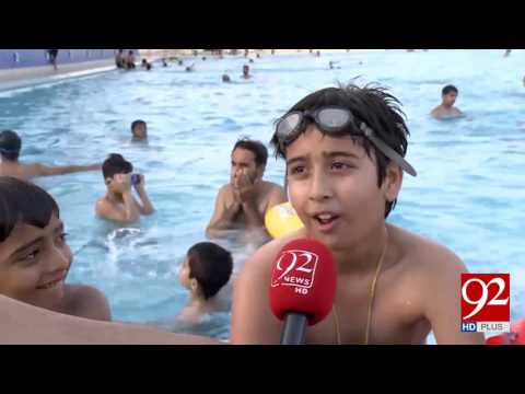 Karachi citizens enjoy pool services during extreme heat 15-04-2017 - 92NewsHDPlus