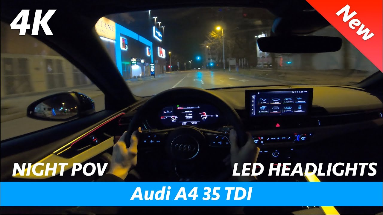 Audi A4 S Line FL 2020 - Night POV test drive and FULL review in 4K | LED headlights test