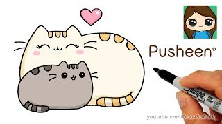How to Draw Pusheen with Mom Easy | Mother's Day