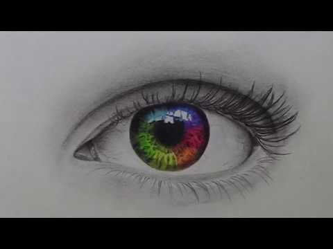 Drawing A Realistic Rainbow Eye Youtube