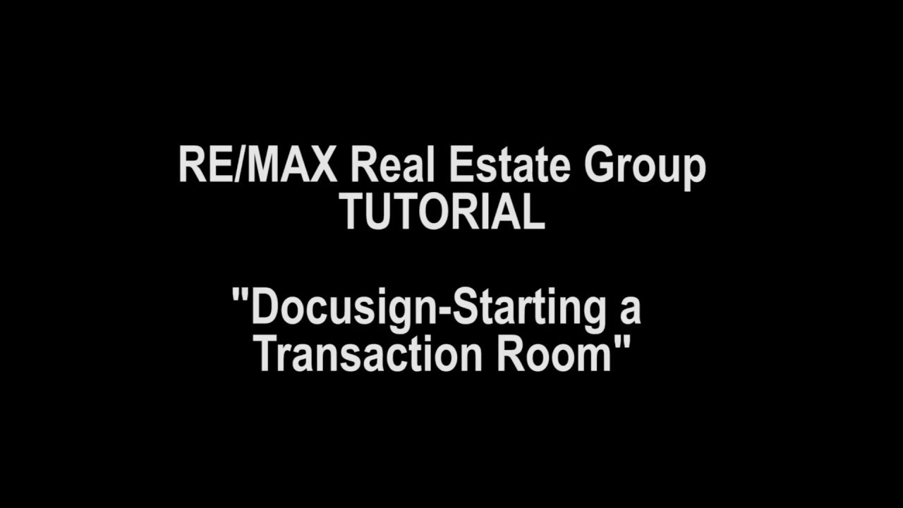 DOCUSIGN - Create a Transaction Room - YouTube