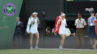 Simona Halep and Aliaksandra Sasnovich take to No.1 Court at Wimbledon 2019