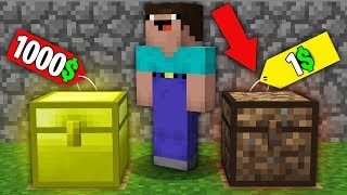 Minecraft NOOB vs PRO:NOOB BOUGHT GOLD CHEST FOR 1000$ VS DIRT CHEST FOR 1$! Challenge 100% trolling