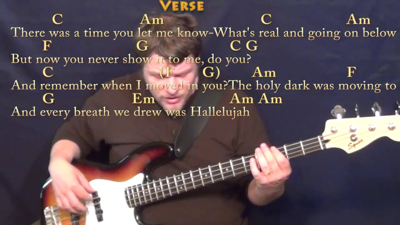 Hallelujah rufus wainwright bass guitar cover lesson with chords lyrics