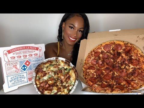 DOMINO'S PIZZA + CHICKEN CARBONARA MUKBANG!!!!