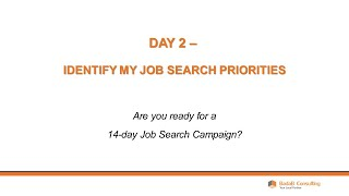 Day 2 - Identify Your Job Search Priorities