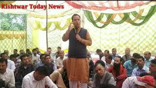 Ex-MLA Kishtwar and State General Secretary BJP Sunil Sharma addresing the peoples in a Dharna